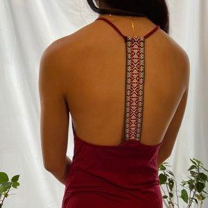 Burgundy summer dress w/Aztec print back detail